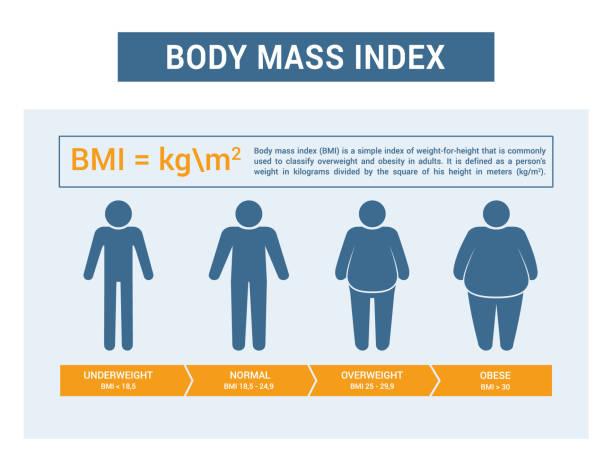 illustrazioni stock, clip art, cartoni animati e icone di tendenza di medical infographics. body mass index, obesity and overweight illustration. - obesity