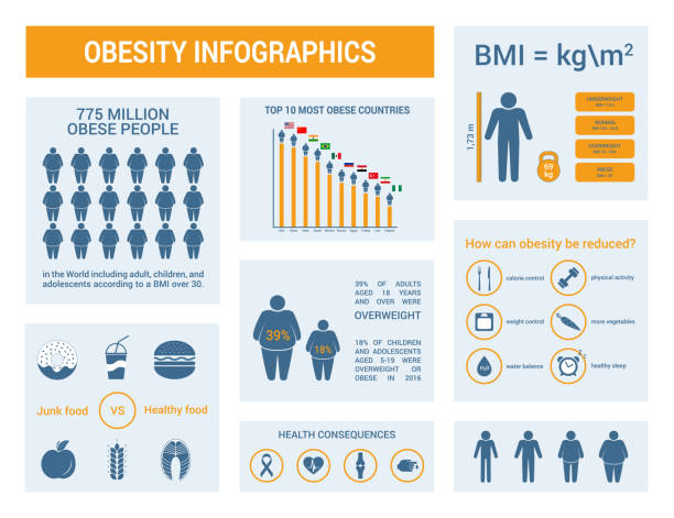 Medical infographics. Body mass index, obesity and overweight illustration. vector art illustration