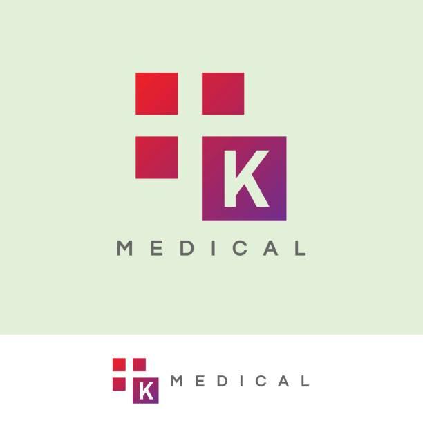 medical initial letter k icon design - k logo stock illustrations