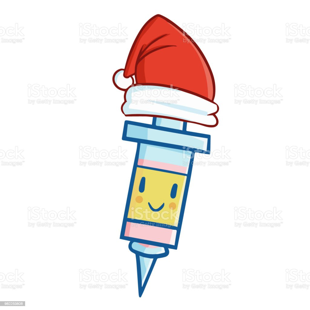 medical-injection-wearing-santas-hat-vec