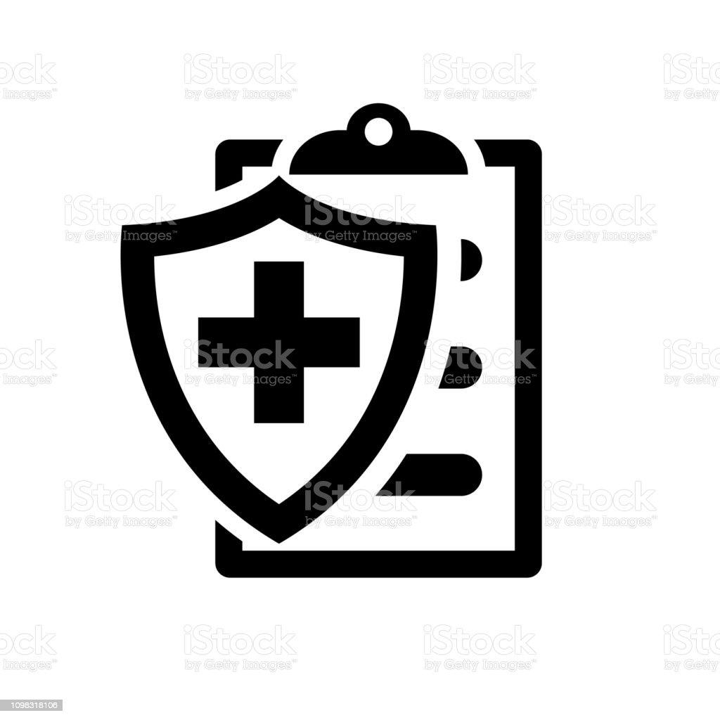 Medische verzekering zwarte silhouet pictogram - Royalty-free Achtergrond - Thema vectorkunst