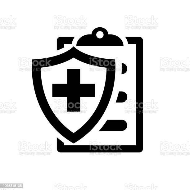 Medische Verzekering Zwarte Silhouet Pictogram Stockvectorkunst en meer beelden van Achtergrond - Thema