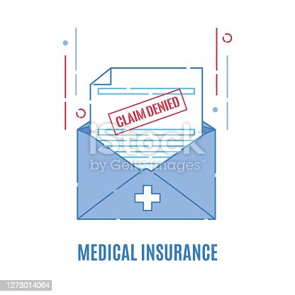 Rejection letter from the insurance company. Medical form with claim denied stamp. Failed payment reimbursement. Declined treatment coverage. Finance and medical concept. Vector flat illustration.