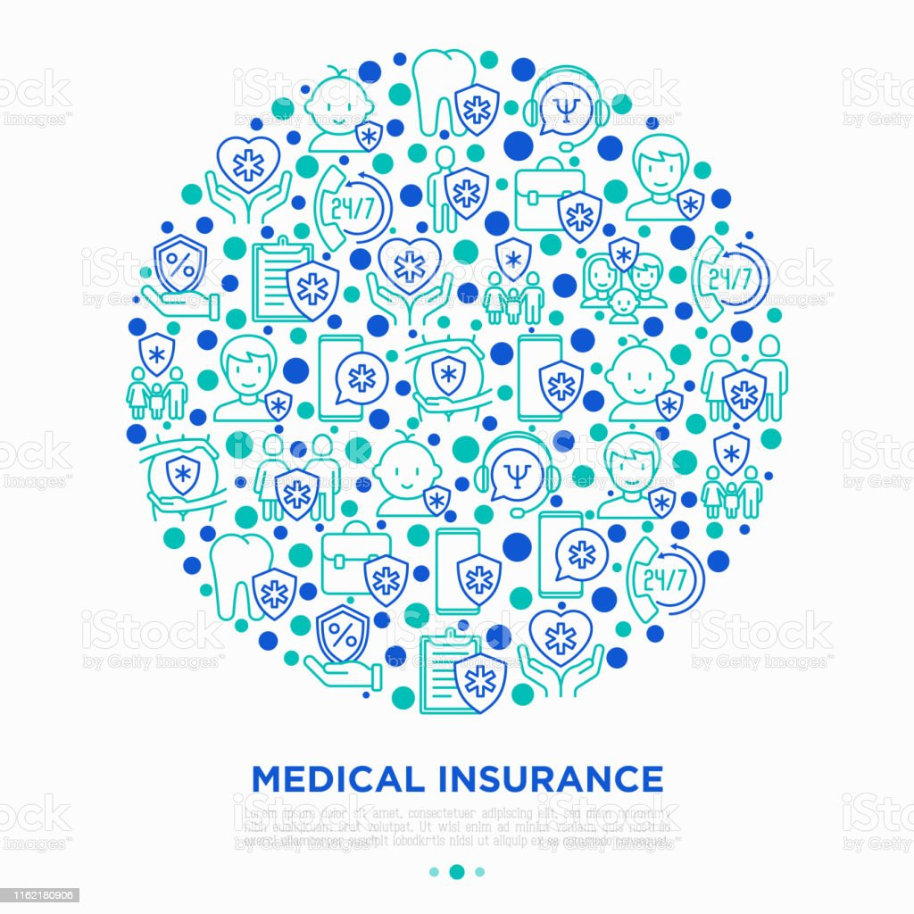 Medical insurance concept in circle thin line icons: policy, life...
