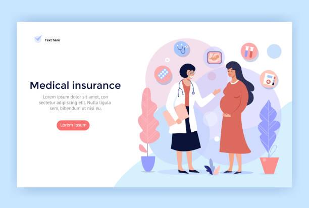 ilustrações, clipart, desenhos animados e ícones de seguro médico para a gravidez, - gestante