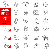 Healthcare and medical services. Medical insurance thin line icon set.