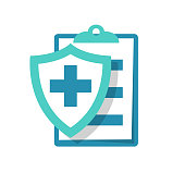 Medical insurance icon. Patient protection. Medical report sign. Clipboard and shield with a cross as a symbol insurance. Vector illustration flat design. Isolated on white background.