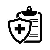 Black medical insurance icon. Vector illustration