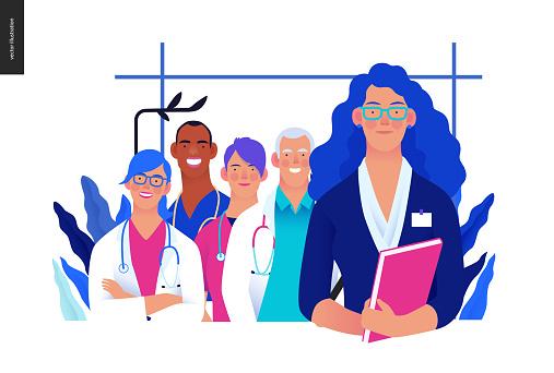 Medical insurance illustration - hospital administrator