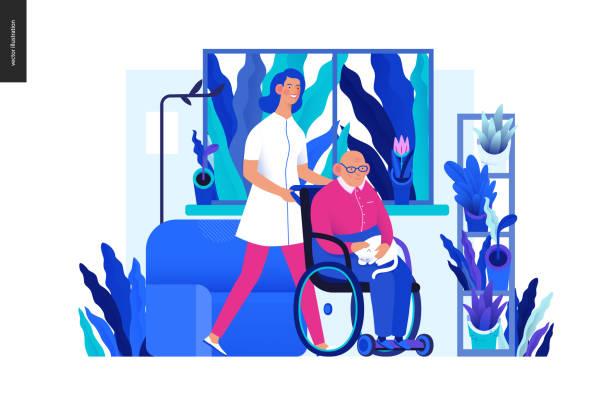 의료 보험 - 노인 가정 지원 - nursing home stock illustrations