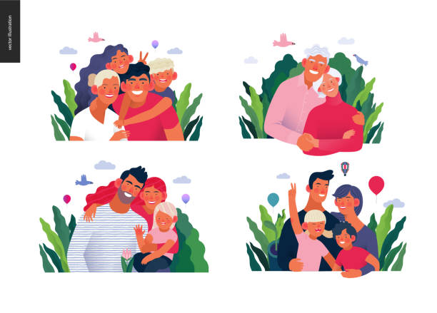 Medical insurance template - a happy family set Medical insurance template -happy family - modern flat vector concept digital illustrations of families, parents with children and elderly couple, embracing together outside, medical insurance concept happy family stock illustrations