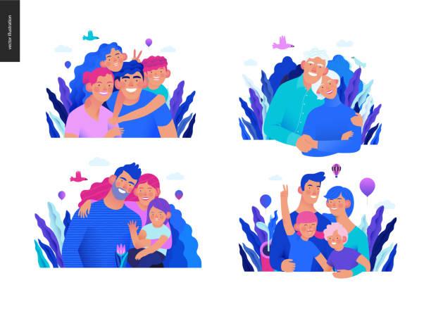 illustrazioni stock, clip art, cartoni animati e icone di tendenza di medical insurance template - a happy family set - couple portrait caucasian