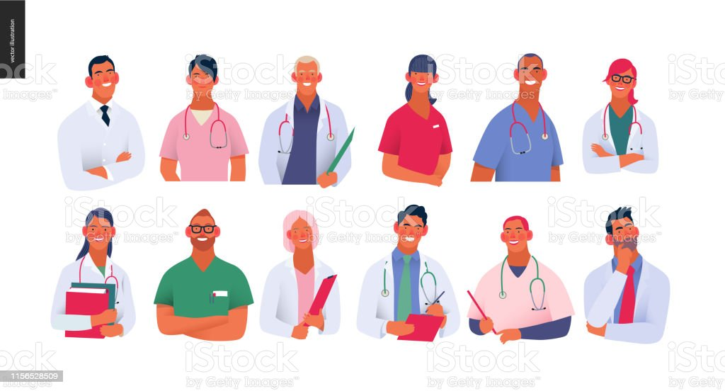 Medical insurance template -best doctors Medical insurance -best doctors -modern flat vector concept digital illustration - medical specialists - doctors and nurses portraits, team of doctos concept, medical office or laboratory Accidents and Disasters stock vector