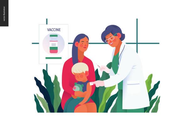 illustrations, cliparts, dessins animés et icônes de modèle d'assurance médicale - vaccination des enfants - vaccin enfant