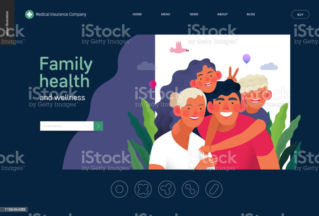 Medical insurance template -family health and wellness -modern flat...