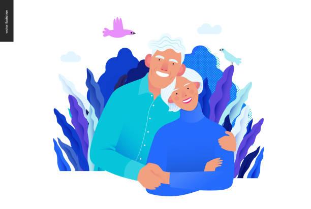 bildbanksillustrationer, clip art samt tecknat material och ikoner med sjukförsäkring mall-senior citizen health plan - medelålders