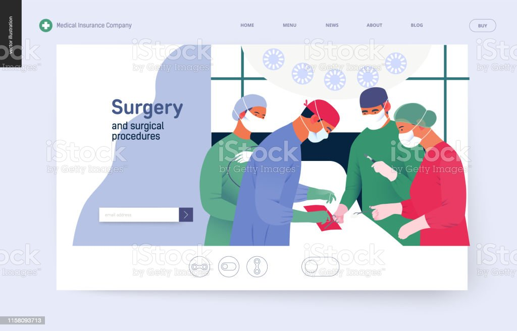 Medical insurance template - surgery Medical insurance - surgery and surgical procedures -modern flat vector concept digital illustration - surgeons and oprationg nurses on surgical operation in operating room, team of doctos concept Accidents and Disasters stock vector