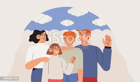 istock Medical insurance template with happy family stand together under umbrella. Healthcare, safety, life protection, health insurance plan or coverage concept. Parents with children vector illustration. 1284892760