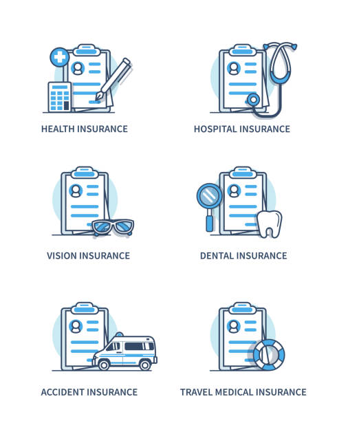 medical insurance - forschungsurlaub stock-grafiken, -clipart, -cartoons und -symbole