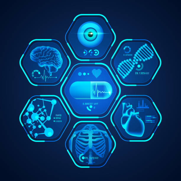 medical interface concept of medical technology, graphic of medical technological interface with pharmaceutical theme radiology stock illustrations