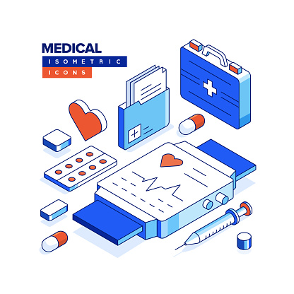 Medical Isometric Web Banner Concept and Three Dimensional Design