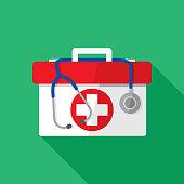 Medical Kit Stethoscope Icon Flat
