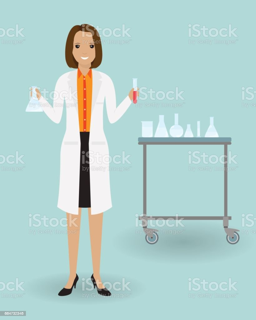 Medizinische Laborantin stehend mit einem Glas. Medizin-Tester mit Blutprobe. Medizinische Mitarbeiter. – Vektorgrafik
