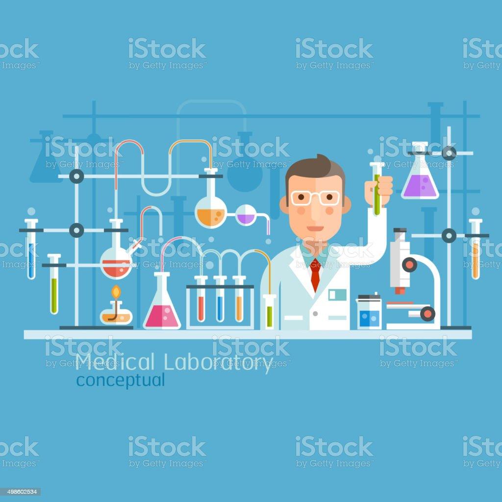 Laboratório médico conceptuais fogo de carácter. - ilustração de arte vetorial