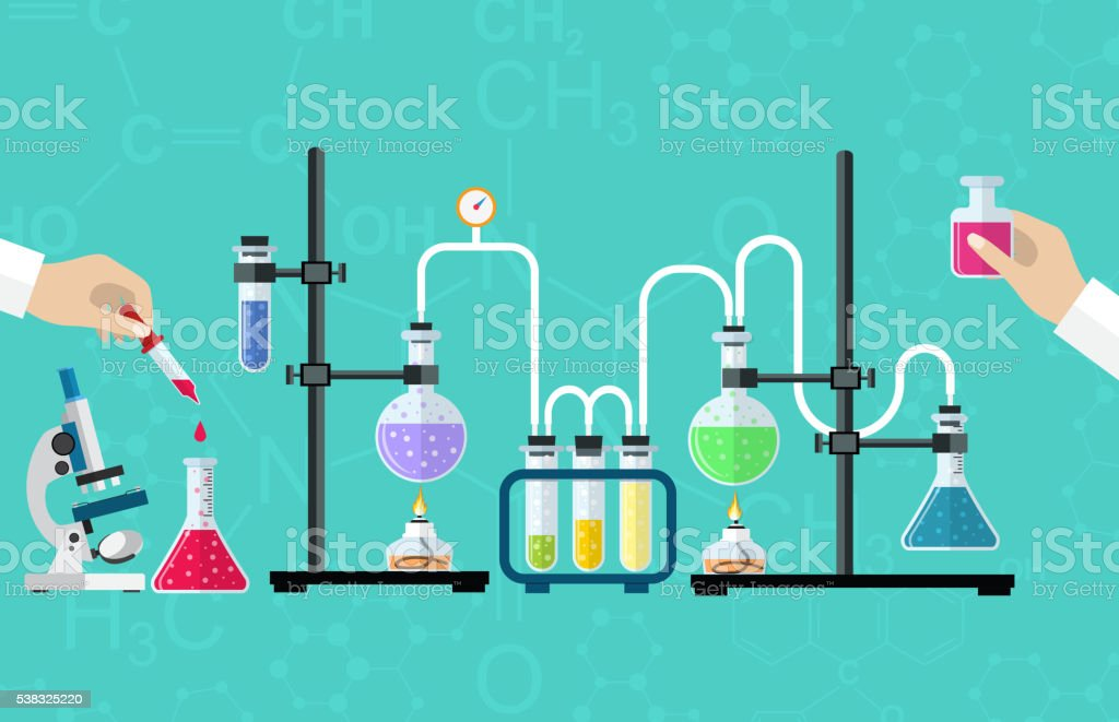 Medical Laboratory Desktop Medical Laboratory. Research, testing, studies in chemistry, physics, biology. laboratory equipment. Hands of doctor with pipette and test tube. Desktop research. Vector illustration flat design. Activity stock vector