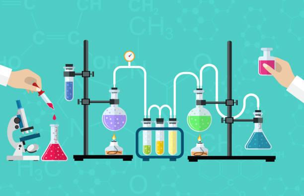 illustrazioni stock, clip art, cartoni animati e icone di tendenza di laboratorio medico desktop - chimica