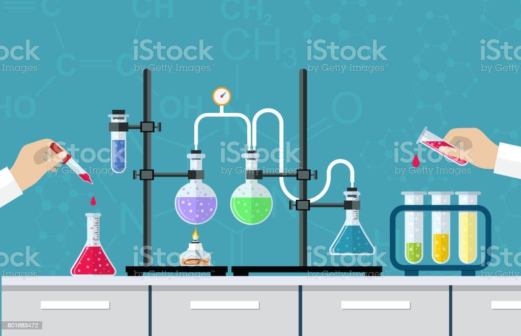 Medical Laboratory Desktop vector art illustration