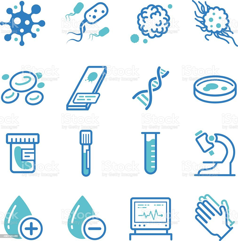 Medical laboratory icons - Royaltyfri Bakterier vektorgrafik