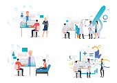 Medical laboratory illustration set. Doctors doing research in lab, presenting charts. Medicine concept. Vector illustration for landing pages, presentation slide templates