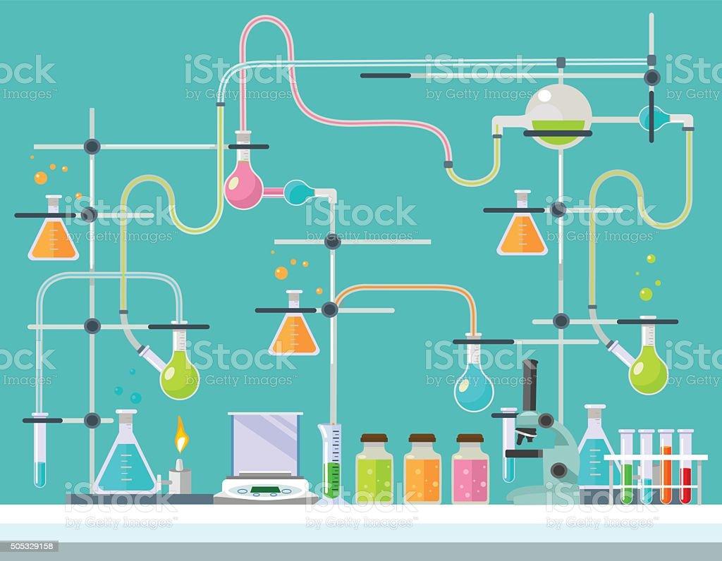 Laboratório médico. Vector ilustração plana - ilustração de arte vetorial