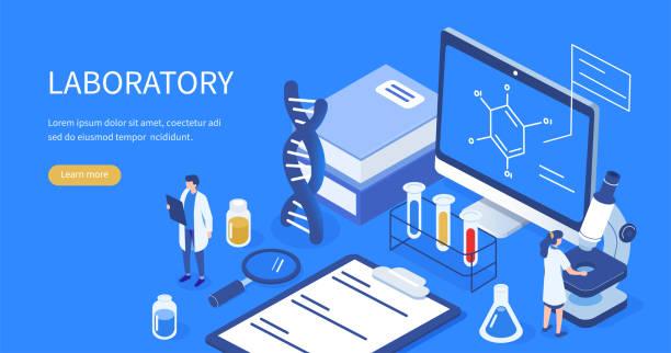 ilustraciones, imágenes clip art, dibujos animados e iconos de stock de laboratorio médico - research