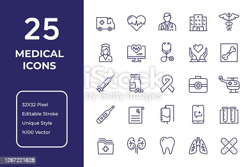 Medical Vector Style Editable Stroke Line Icon Set