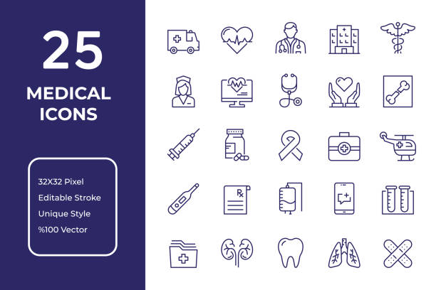 Medical Line Icon Design Medical Vector Style Editable Stroke Line Icon Set medical stock illustrations