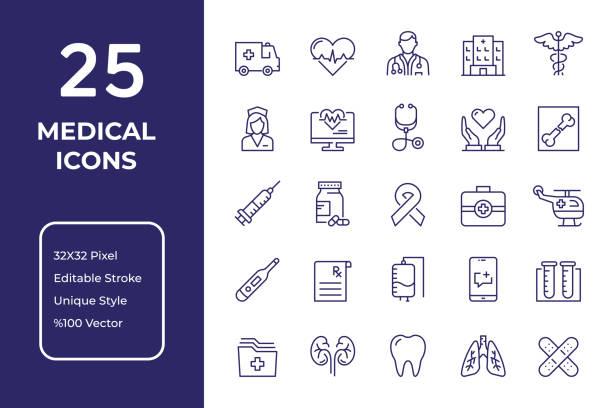 ilustrações de stock, clip art, desenhos animados e ícones de medical line icon design - healthcare