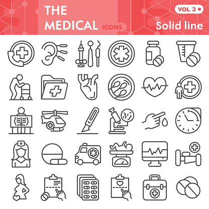 Medical line icon set, Health and healthcare symbols collection or sketches. Medicine linear style signs for web and app. Vector graphics isolated on white background