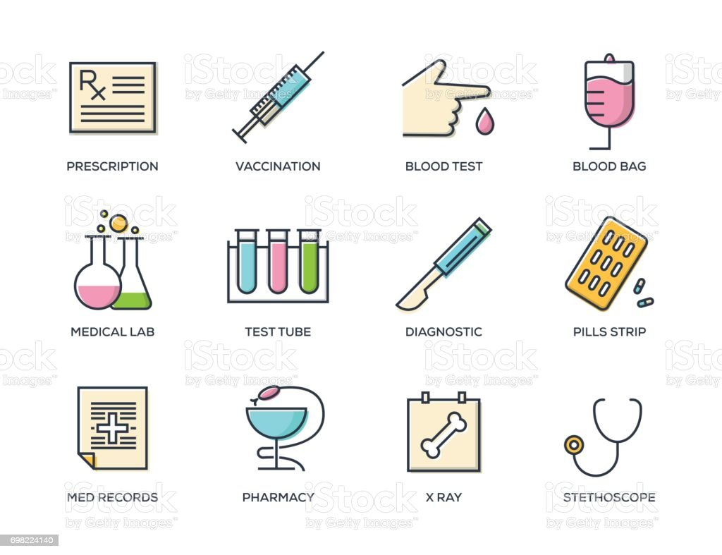 Medical Line Icon Set vector art illustration