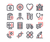 Medical line icons set. Healthcare, medicine, health and medical care concepts. Modern outline symbols. Simple thin stroke design linear graphic elements. Red and black colors. Pixel perfect. Vector line icons