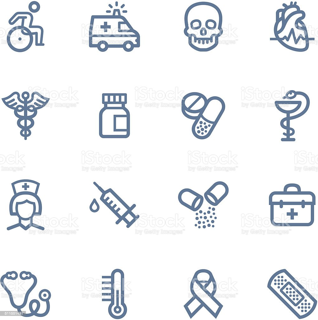 Medical line icons vector art illustration