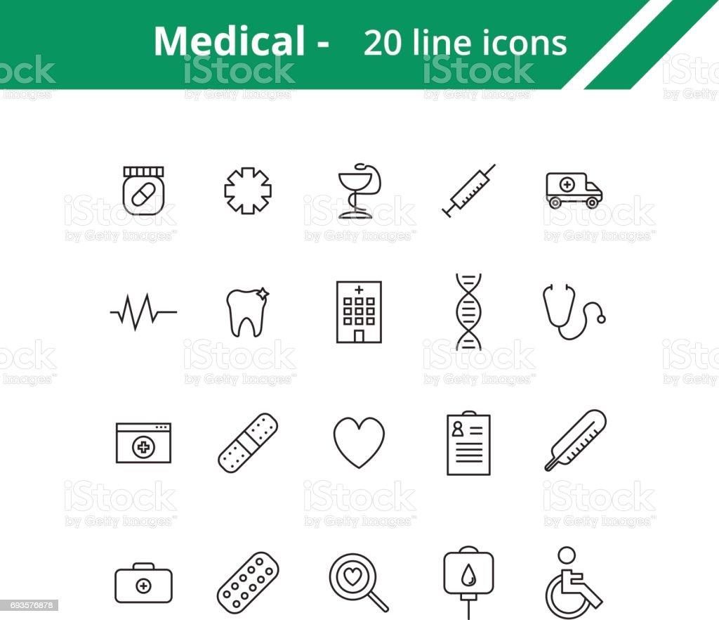 Iconos de médicos - ilustración de arte vectorial