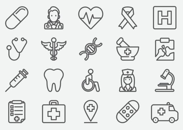 illustrazioni stock, clip art, cartoni animati e icone di tendenza di medical line icons - denti