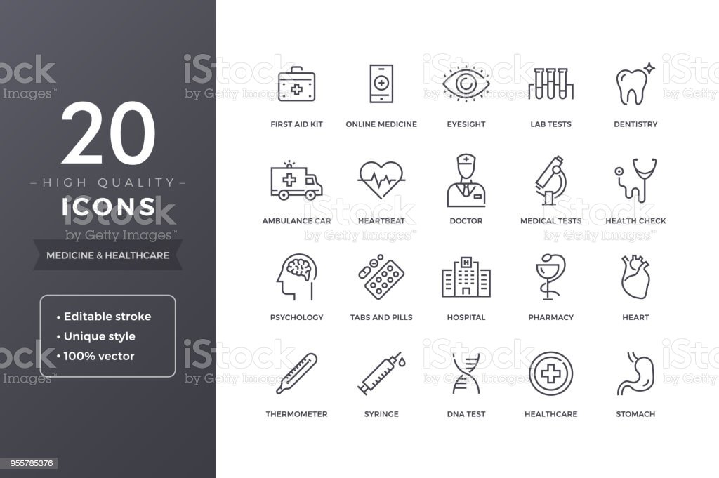 Medical Line Icons - arte vettoriale royalty-free di Accudire