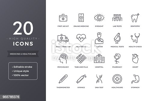 Medical line icons.  Medicine and health icon set with editable stroke