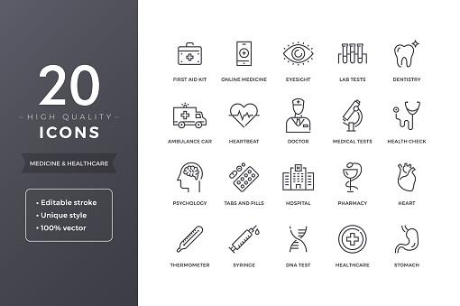 Medical Line Icons - Immagini vettoriali stock e altre immagini di Accudire