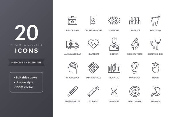 medical line icons - health stock illustrations