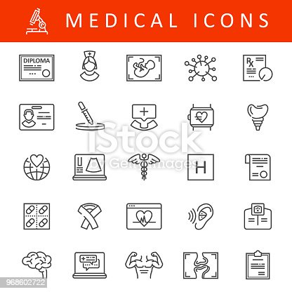 Vector Healthcare and Medicine Icons. Pharmacy, dental, AIDS ribbon, brain and surgery illustrations