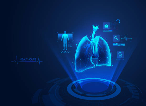 medical lungs concept of medical health care technology, graphic of lungs with analysis data lung stock illustrations